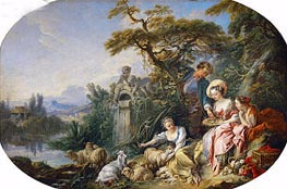 The Shepherd's Presents (The Nest), undated by Boucher | Painting Reproduction