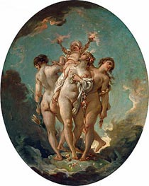 The Three Graces carrying Amor, God of Love, undated von Boucher | Gemälde-Reproduktion