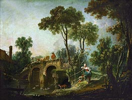 The Bridge, 1751 von Boucher | Gemälde-Reproduktion