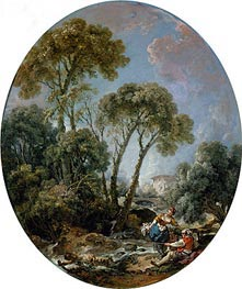 Landscape with Fisherman and a Young Woman | Boucher | Painting Reproduction