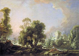 Idyllic Landscape with Woman Fishing, 1761 von Boucher | Gemälde-Reproduktion
