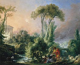 River Landscape with an Antique Temple | Boucher | Painting Reproduction