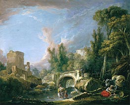River Landscape with Ruin and Bridge | Boucher | Painting Reproduction