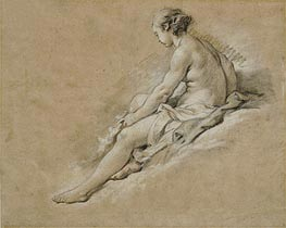 A Seated Nude Girl, undated von Boucher | Gemälde-Reproduktion
