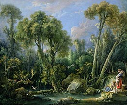 Laundresses in a Landscape, 1760 von Boucher | Gemälde-Reproduktion