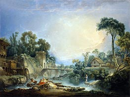 The Rustic Bridge, c.1756 by Boucher | Painting Reproduction