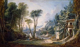 Pastoral Landscape with River | Boucher | Painting Reproduction
