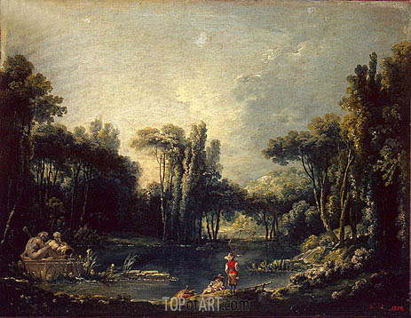 Landscape with a Pond, 1746 | Boucher | Painting Reproduction