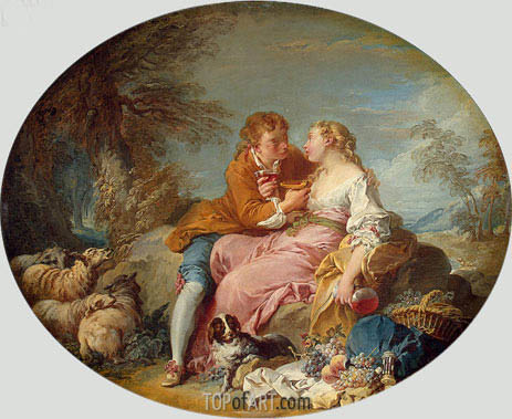 Pastoral Scene, c.1730 | Boucher | Painting Reproduction