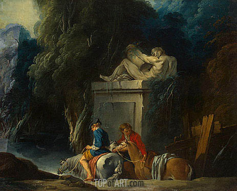 Crossing the Ford, c.1730 | Boucher | Gemälde Reproduktion