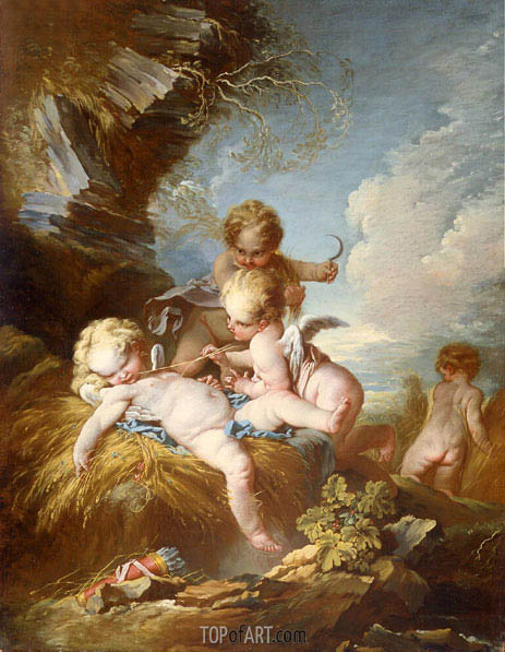 The Cherub Harvesters, c.1730/35 | Boucher | Painting Reproduction