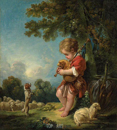 Shepherd Boy Playing Bagpipes, c.1754 | Boucher | Painting Reproduction