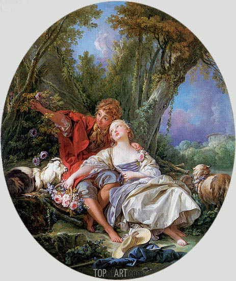 Shepherd and Shepherdess Reposing (The School of Love), 1761 | Boucher | Painting Reproduction