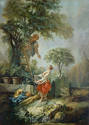 Landscape with Figures Gathering Cherries, 1768 | Boucher | Painting Reproduction