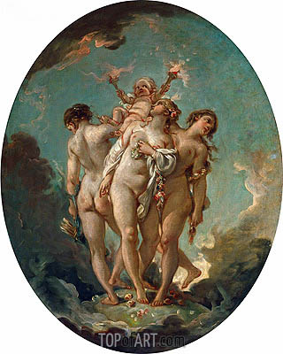 The Three Graces carrying Amor, God of Love, undated | Boucher | Gemälde Reproduktion
