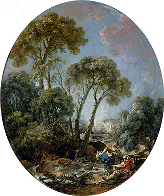 Landscape with Fisherman and a Young Woman, 1769 | Boucher | Gemälde Reproduktion