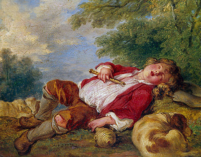 Sleeping Shepherd, undated | Boucher | Gemälde Reproduktion