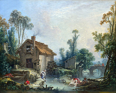Landscape with a Watermill, 1755 | Boucher | Painting Reproduction