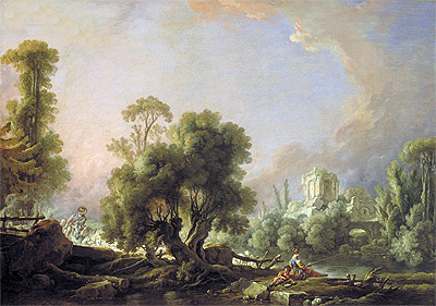 Idyllic Landscape with Woman Fishing, 1761 | Boucher | Painting Reproduction