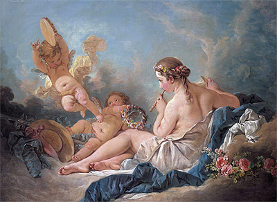 The Muse Euterpe (A Reclining Nymph Playing the Flute with Putti), 1752 | Boucher | Gemälde Reproduktion