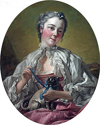 Young Lady Holding a Pug Dog, c.1745 | Boucher | Gemälde Reproduktion
