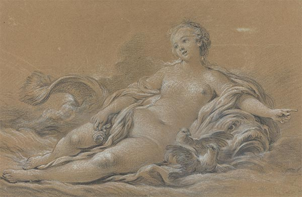 Venus Reclining on a Dolphin, c.1745 | Boucher | Painting Reproduction