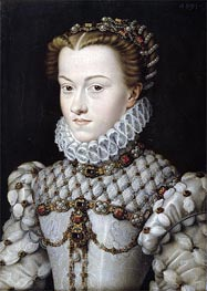 Portrait of Elisabeth of Austria, 1571 by Francois Clouet | Painting Reproduction