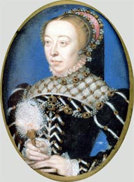 Portrait of Catherine de Medici, c.1555 by Francois Clouet | Painting Reproduction