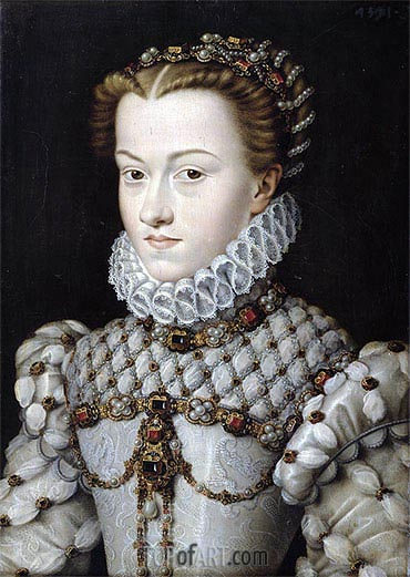Portrait of Elisabeth of Austria, 1571 | Francois Clouet | Painting Reproduction