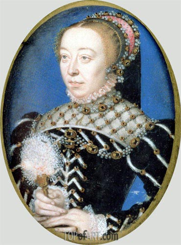 Portrait of Catherine de Medici, c.1555 | Francois Clouet | Painting Reproduction