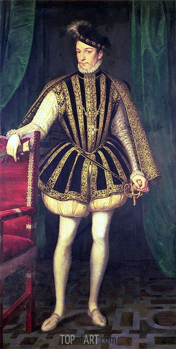 King Charles IX of France, c.1565 | Francois Clouet | Painting Reproduction