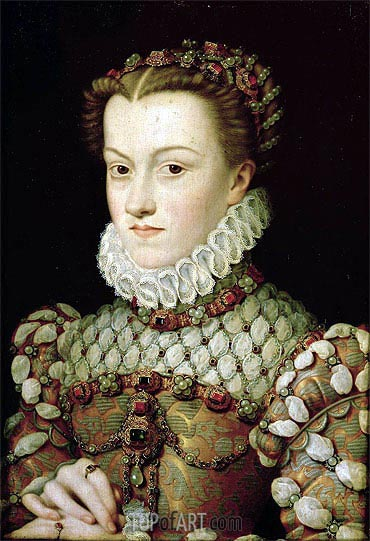 Portrait of Elizabeth of Austria Queen of France, 1571 | Francois Clouet | Painting Reproduction
