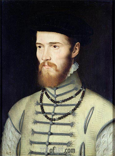 Portrait of a Man, possibly Don John of Austria, c.1570 | Francois Clouet | Gemälde Reproduktion
