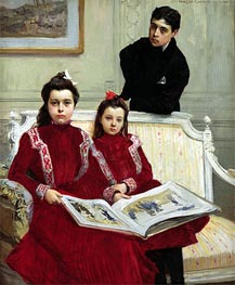 Family Portrait of a Boy and his Two Sisters | Francois Flameng | Painting Reproduction