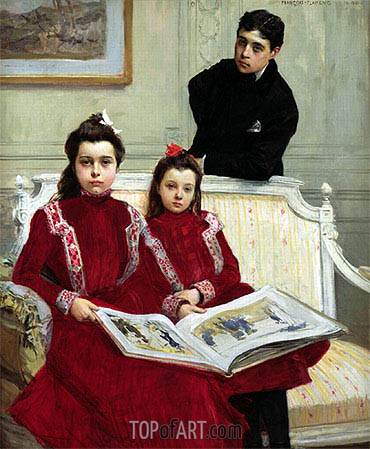 Family Portrait of a Boy and his Two Sisters, 1900 | Francois Flameng | Painting Reproduction