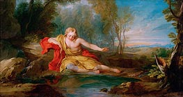 Narcissus Contemplating His Image Mirrored in the Water, c.1725/28 von Francois Lemoyne | Gemälde-Reproduktion
