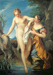 The Bather and her Maid, undated by Francois Lemoyne | Painting Reproduction