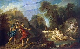 Messengers of Godfrey of Bouillon in Gardens of Armida | Francois Lemoyne | Painting Reproduction