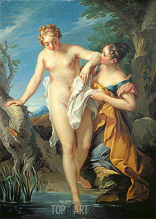 The Bather and her Maid, undated | Francois Lemoyne | Painting Reproduction