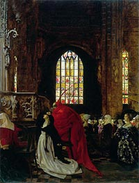 Mephistopheles and Marguerite in the Cathedral | Frank Cadogan Cowper | Painting Reproduction