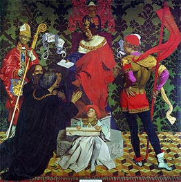 John Cabot and his Sons Receive the Charter from Henry VII to Sail in Search of New Lands | Frank Cadogan Cowper | Gemälde Reproduktion