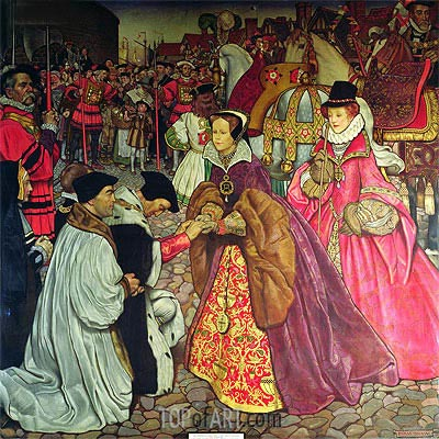 Entry of Queen Mary I with Princess Elizabeth into London in 1553, 1910 | Frank Cadogan Cowper | Painting Reproduction