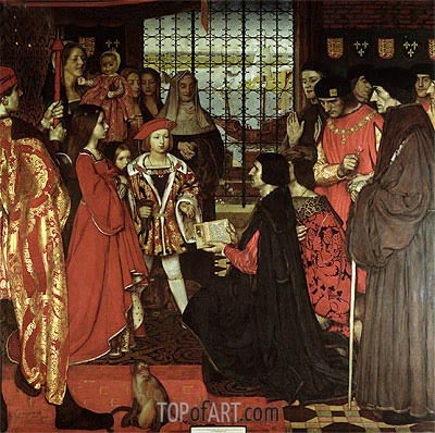 Erasmus and Sir Thomas More Visit the Children of Henry VII at Greenwich in 1499, 1910 | Frank Cadogan Cowper | Gemälde Reproduktion