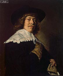 Portrait of a Young Man Holding a Glove, c.1650 by Frans Hals | Painting Reproduction