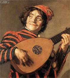 Buffoon Playing a Lute, c.1623 by Frans Hals | Painting Reproduction