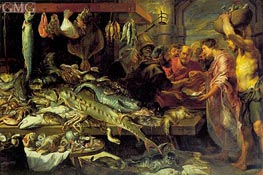 Fish Market (with Figures by van Dyck), c.1618/20 von Frans Snyders | Gemälde-Reproduktion