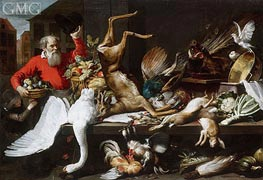 Market Still Life with Game, Fruit, Vegetables, 1614 von Frans Snyders | Gemälde-Reproduktion