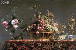 Grapes in a Basket and Roses in a Vase, Undated von Frans Snyders | Gemälde-Reproduktion