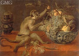 Still Life with a Monkey, Undated by Frans Snyders | Painting Reproduction
