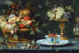 Still Life with Fruit, Wan-Li Porcelain, and Squirrel | Frans Snyders | Painting Reproduction